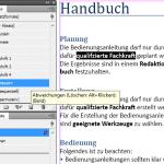 """Das Bild zeigt einen selektierten Text. In den Absatzformat-Katalog ist das zugewiesenen Formate selektiert. Im Zeichenformatkatalog ist kein Format bzw. """"[ohne]"""" selektiert. Die Formatüberschreibung ist mit einem """"+"""" nach dem Formatnamen gekennzeichnet. Fährt man mit der Maus über das Bild, so wird angezeigt, worin die Formatüberschreibung besteht."""