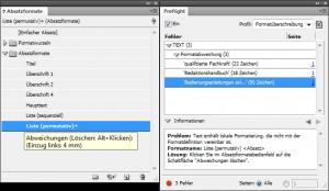 Adobe InDesign: Worin besteht denn nun die Formatüberschreibung? Das verrät Ihnen das Preflight-Panel leider nicht.