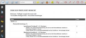 Adobe InDesign: PDF-Report der Formatueberschreibungen