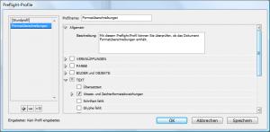 Adobe InDesign: Preflight-Profile Dialog