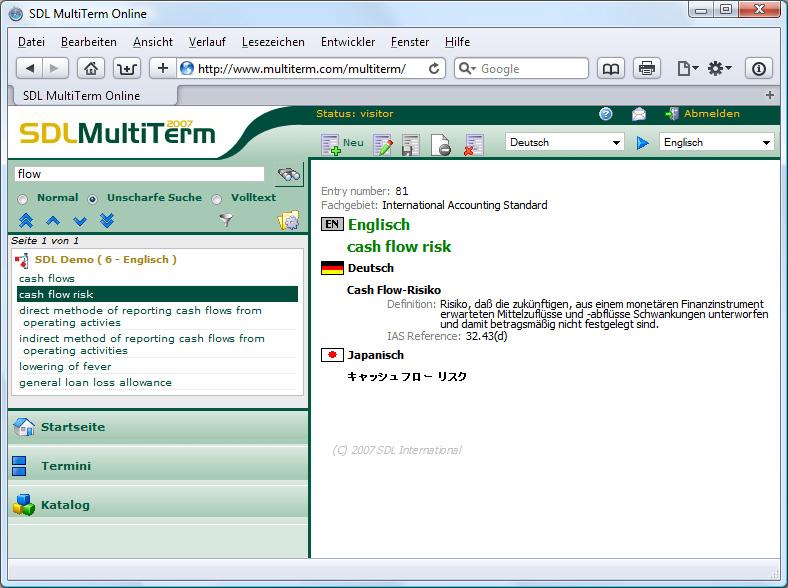 SDL Trados 2007 MultiTerm Online